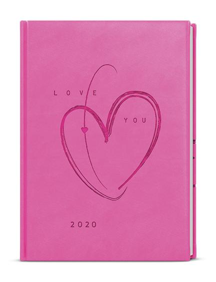 Denní diář - Adam - vivella s ražbou - B6 - růžová - Srdce
