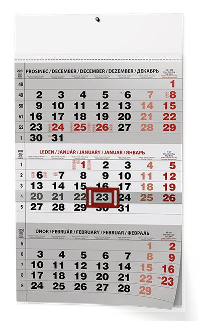 Nástěnný kalendář A3 - Tříměsíční - s mez. svátky - černý