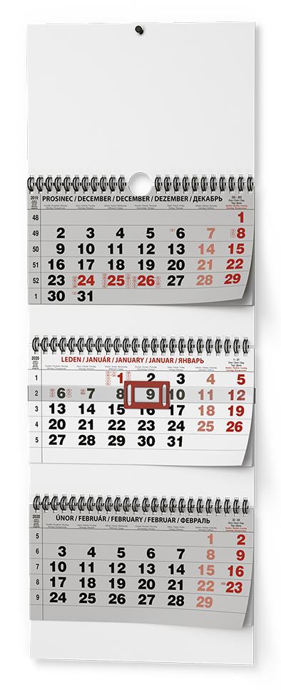 Nástěnný kalendář - Tříměsíční skládaný - s mez. svátky